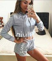 Женский комплект кофта с капюшоном и шорты Calvin Klein