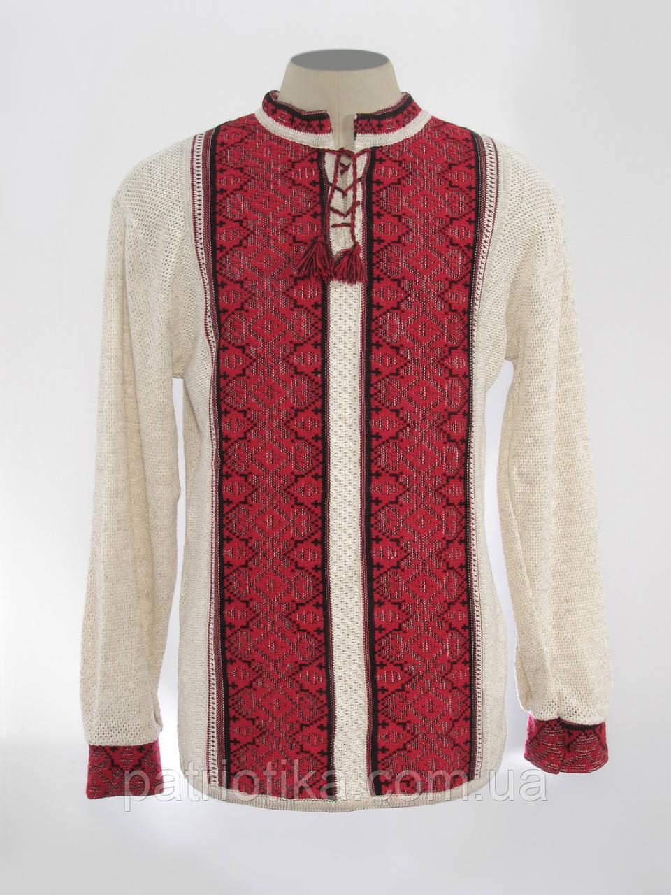 Вязаная вышиванка с красным узором Роман   В'язана вишиванка з червоним узором Роман