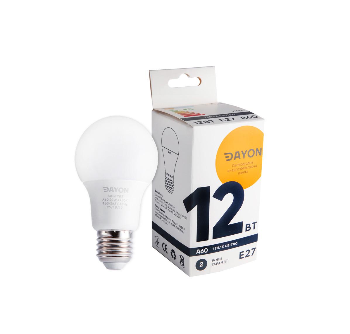 Светодиодная лампа DAYON EMT-1705 A60 12W 3000K E27