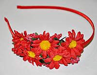 Обруч с цветами - красный