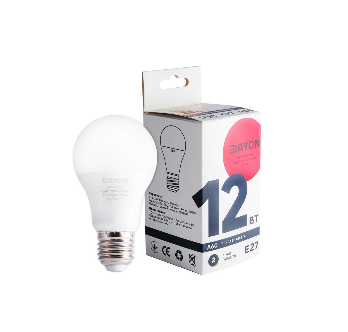 Светодиодная лампа DAYON EMT-1706 A60 12W 4100K E27