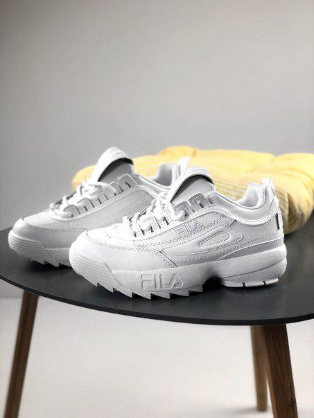 Женские кроссовки Fila Disruptor All White, Копия