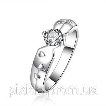 Кольцо Россыпь сердечек фианит покрытие 925 серебро