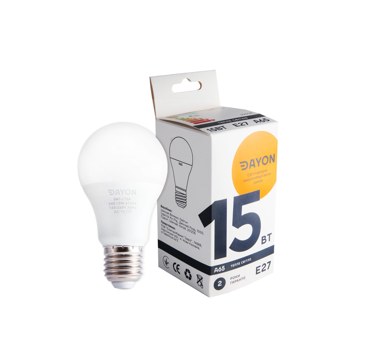 Светодиодная лампа DAYON EMT-1707 A65 15W 3000K E27