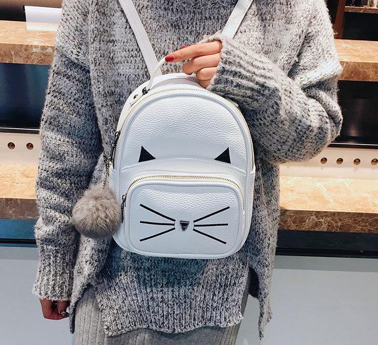 Рюкзак женский кожзам. с ушками и усами кота с брелком Женский, Белый