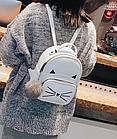 Рюкзак женский кожзам. с ушками и усами кота с брелком Женский, Белый, фото 3