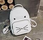 Рюкзак женский кожзам. с ушками и усами кота с брелком Женский, Белый, фото 5