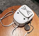 Рюкзак женский кожзам. с ушками и усами кота с брелком Женский, Белый, фото 6