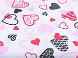 """Лоскут ткани №1162 """"Красные, розовые и чёрные сердца с узорами на белом фоне""""   , фото 2"""