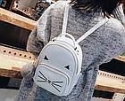 Рюкзак женский кожзам. с ушками и усами кота с брелком Женский, Белый, фото 7
