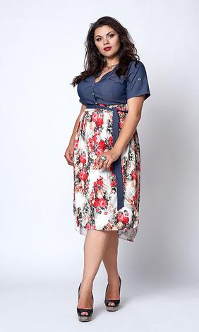 "Платье ""Алла"" размер 50,52, букетики роз, фото 2"