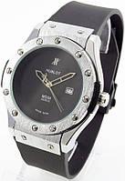 Мужские классические часы (серебристый корпус, черный ремешок), фото 1