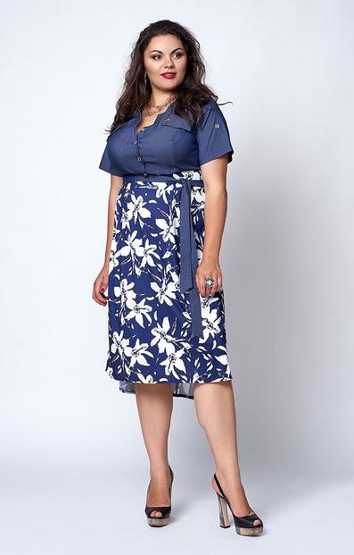 """Платье """"Алла"""" размер 50,52 сине-белые цветы"""