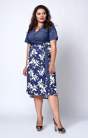 """Платье """"Алла"""" размер 50,52 сине-белые цветы, фото 2"""