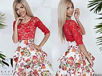 Платье с гипюровым верхом и двойной цветочной юбкой 53031566