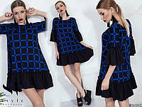 Платье свободное с принтом и оборками 53031567, фото 1