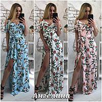 Длинное шифоновое платье в цветочный принт с разрезом 37031575, фото 1