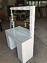 Белый глянцевый стол визажиста, гримерный столик, зеркало с подсветкой , фото 3