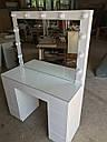 Белый глянцевый стол визажиста, гримерный столик, зеркало с подсветкой , фото 2