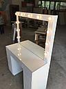 Белый глянцевый стол визажиста, гримерный столик, зеркало с подсветкой , фото 8