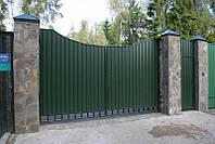 Распашные ворота из профлиста размер 4400х2000, фото 1