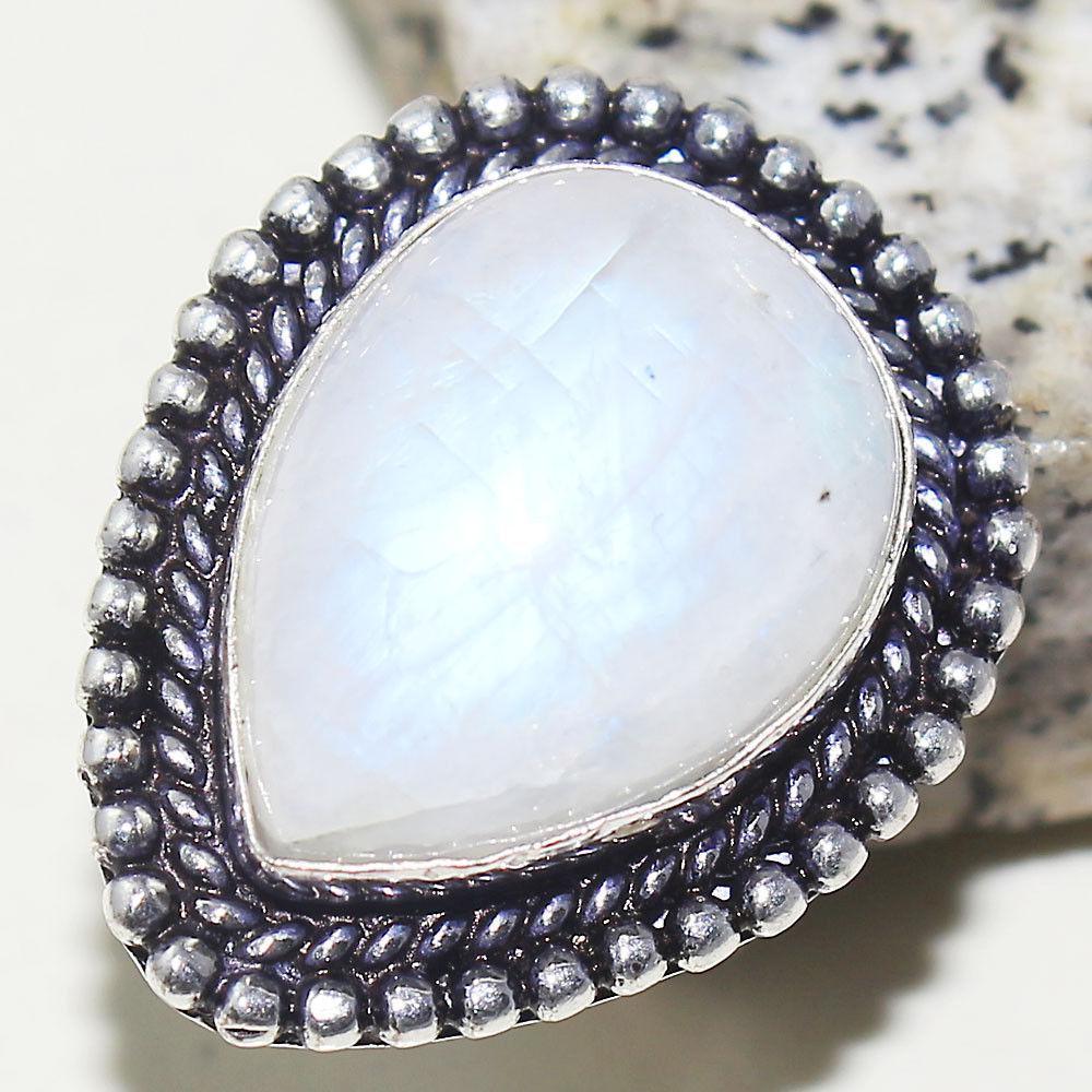 Кольцо лунный камень в серебре 16,75 размер. Кольцо с лунным камнем адуляр Индия сертификат, фото 1