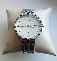 Женские наручные часы Gucci серебро, белый циферблат Гуччи, фото 1