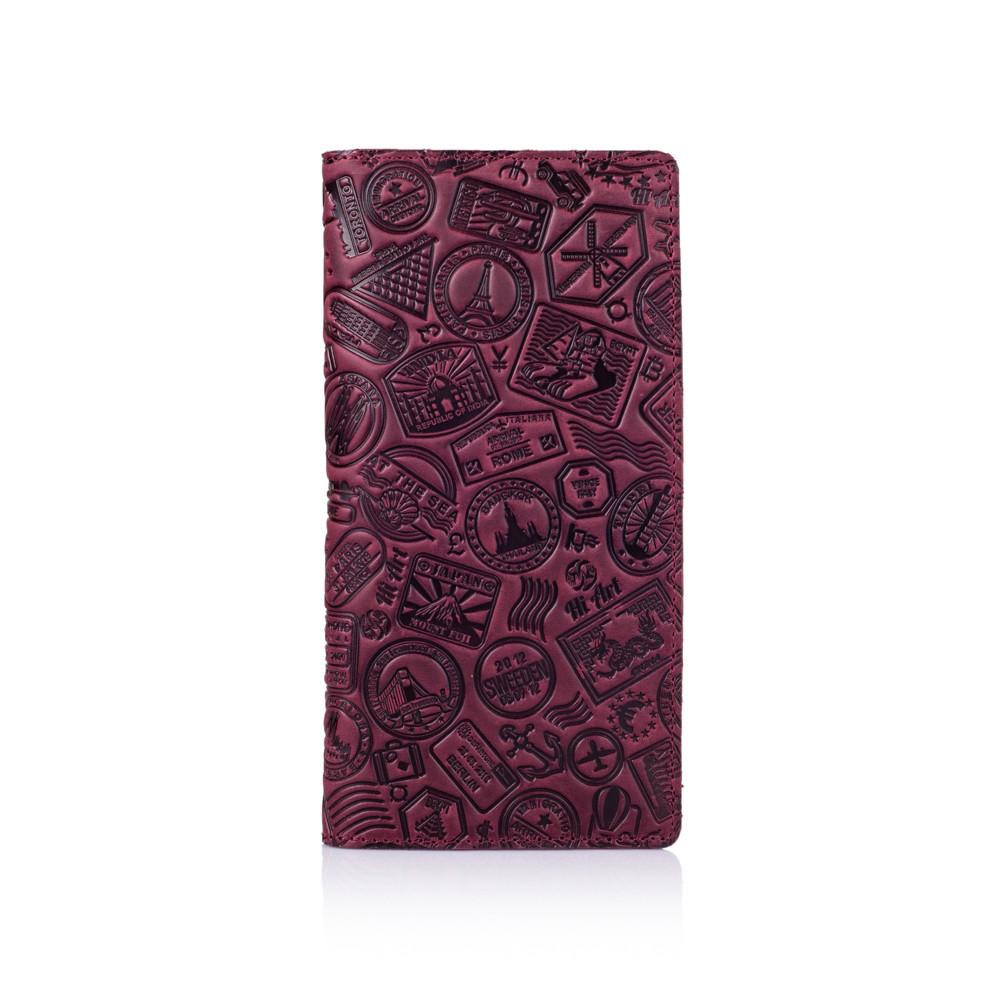 """Оригинальный бумажник фиолетового цвета с матовой натуральной кожи с отделением для монет, художественное тиснение """"Let's Go Travel"""""""
