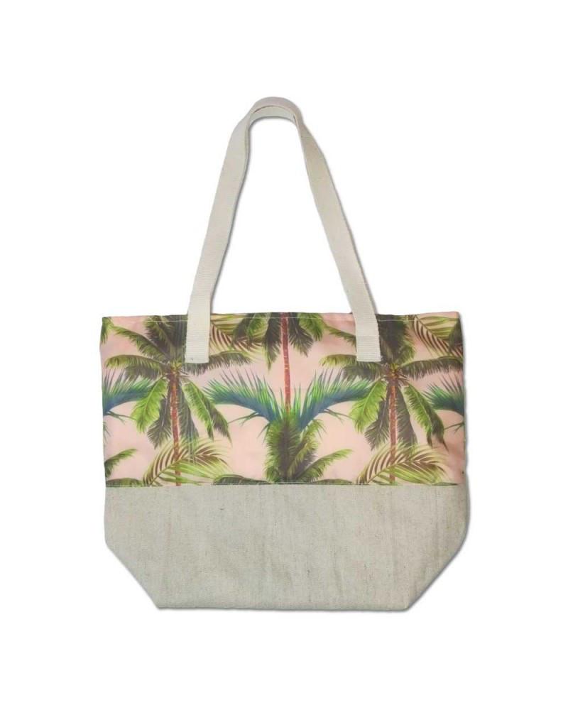 Пляжная сумка летняя Evans Palm Pink пальмы (сумка для пляжа, сумочка,