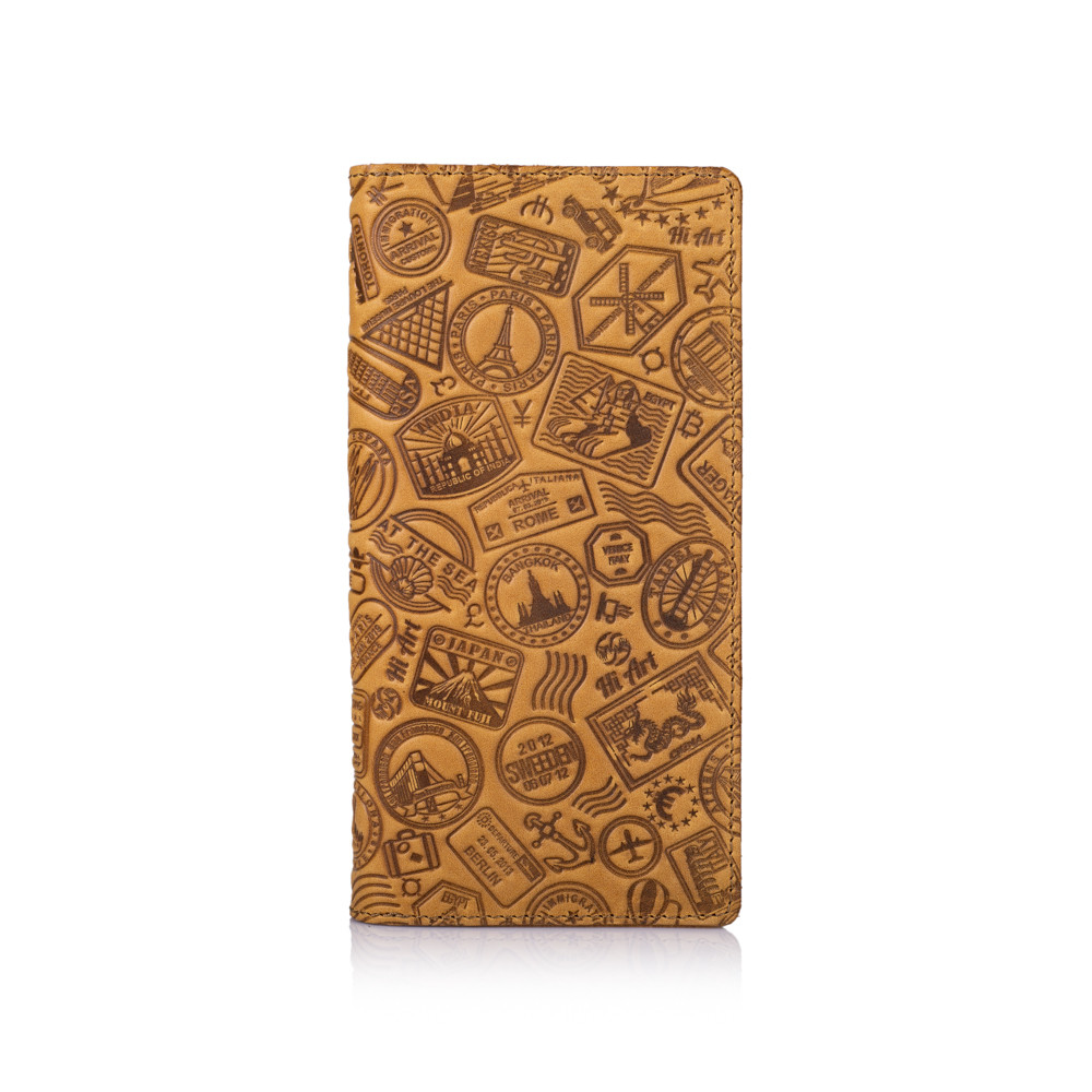 """Светло желтый бумажник с матовой натуральной кожи с отделением для монет, художественное тиснение """"Let's Go Travel"""""""