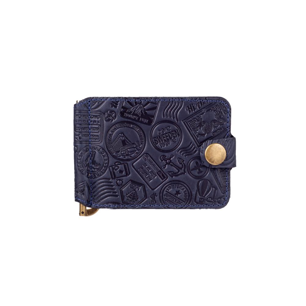 """Синий дизайнерский зажим для денег с натуральной матовой кожи, коллекция """"Let's Go Travel"""""""