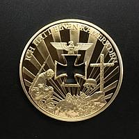 Позолоченная сувенирная монета ''Вторая мировая война'', фото 1