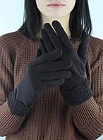 Женские перчатки трикотажные с манжетом Эклер коричневые размер 8