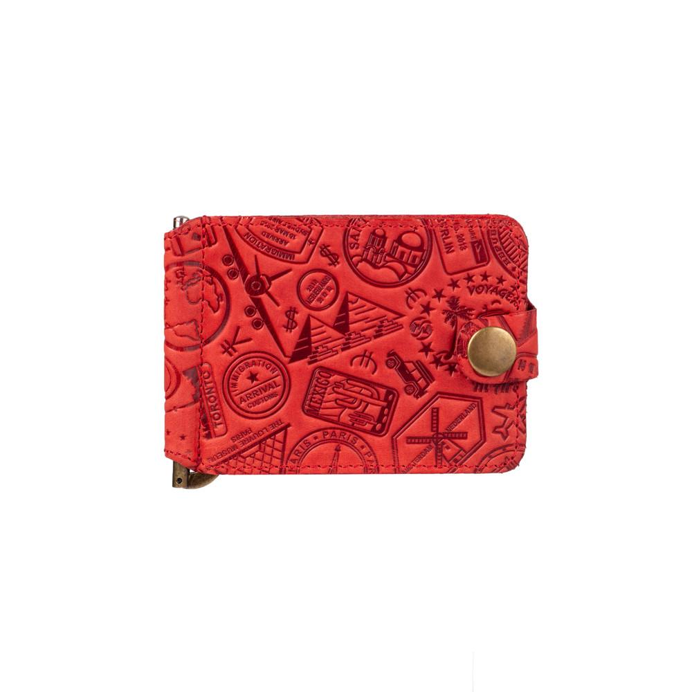 """Красный дизайнерский зажим для денег с натуральной матовой кожи, коллекция """"Let's Go Travel"""""""