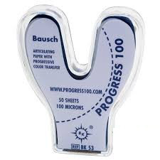 Артикуляційний папір Bausch Progress  ВК53 100µm (50 дужок прогресивне забарвлення)
