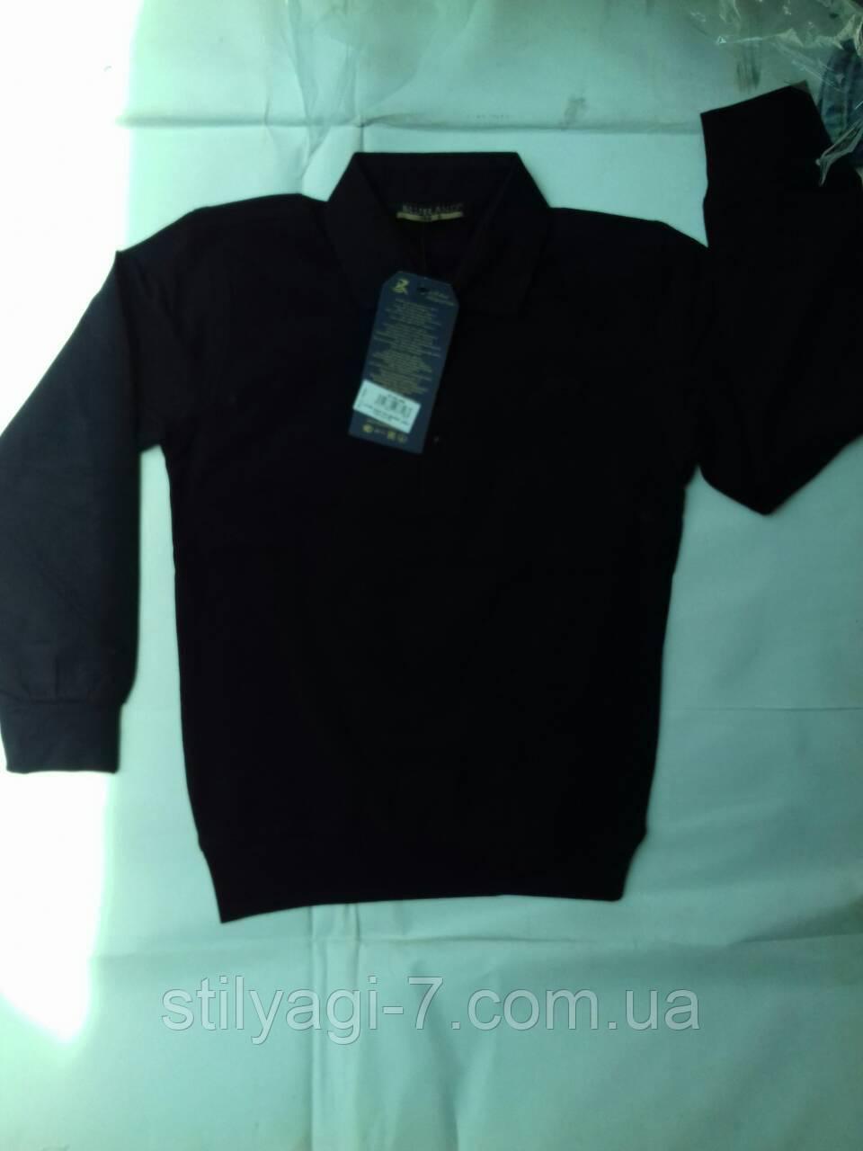 Кофта для мальчика на 6-8 лет черного цвета с воротником оптом