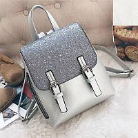 Хит! Стильный красивый модный рюкзак с блёстками на кармане серебро серебряный