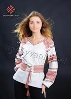Жін. ткана сорочка з поясом, льон+бавовна+поліестр, 50