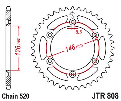Звезда задняя JTR808.47