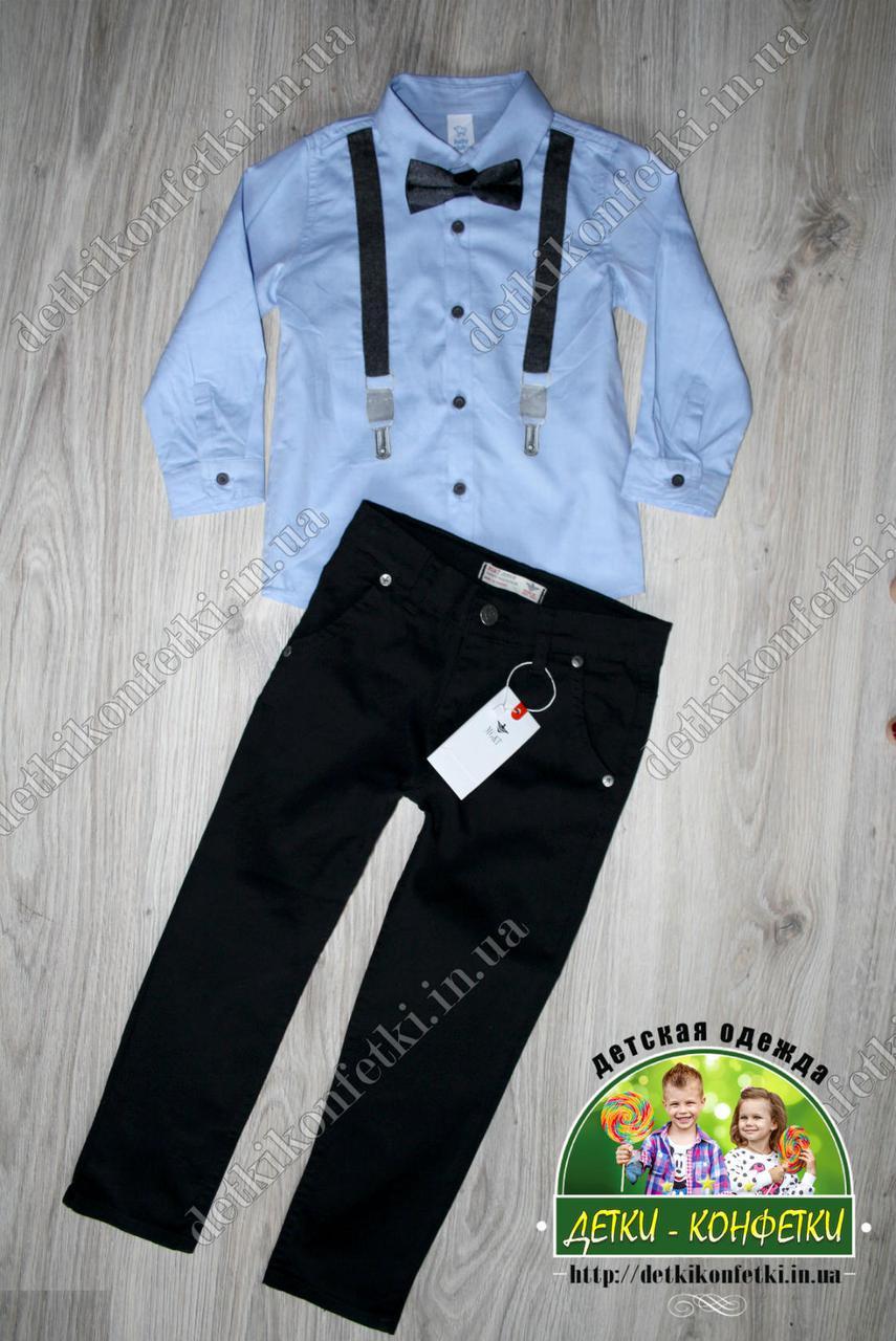 Стильная рубашка с подтяжками для мальчика 3-18 месяцев