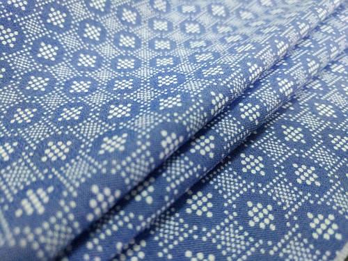 Ткань джинс тенсел рубашечный точечная геометрия, голубой