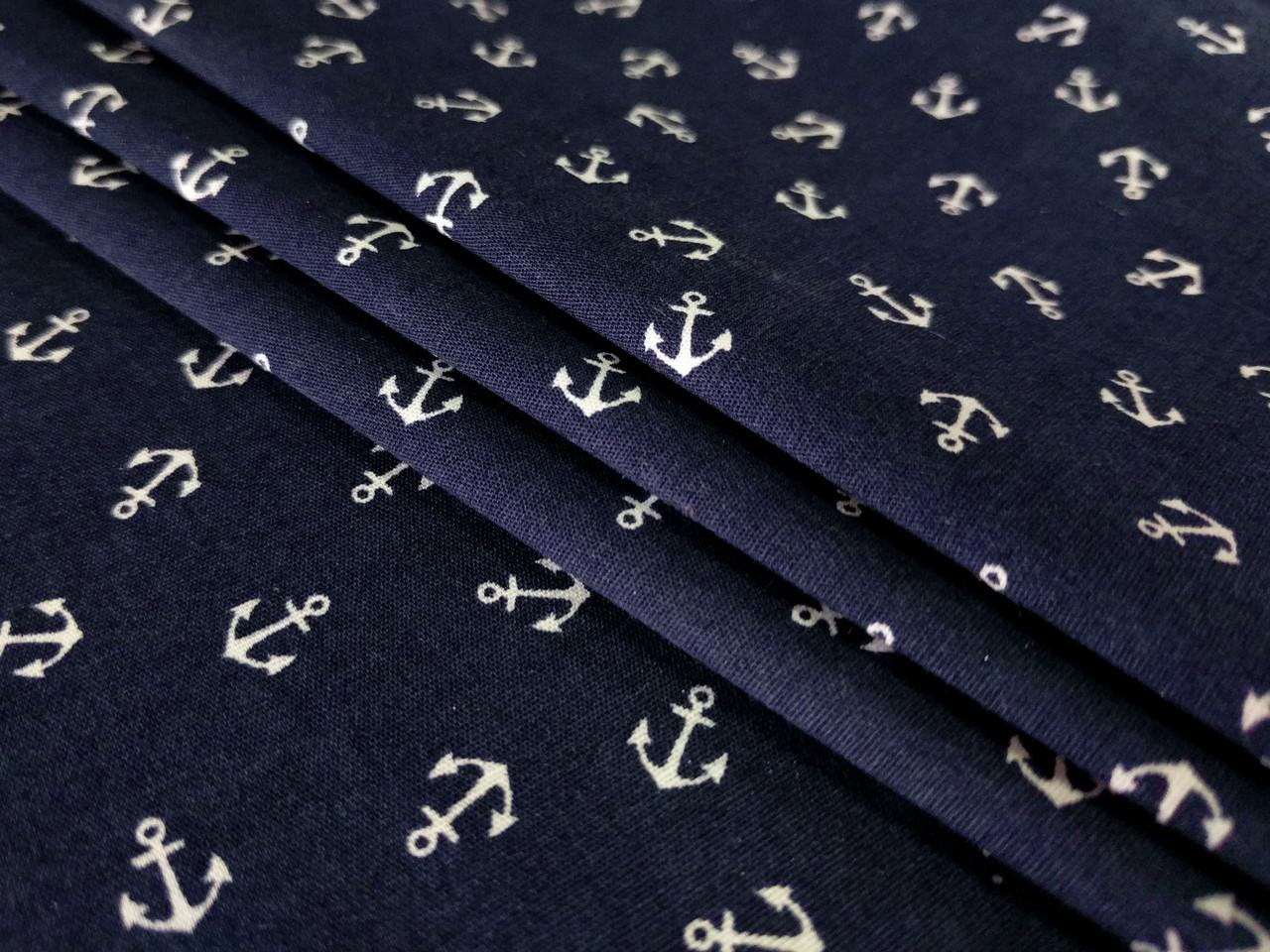 Коттон стрейчевый рубашечный белые якоря, темно-синий