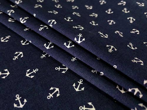 Ткань коттон стрейчевый рубашечный белые якоря, темно-синий