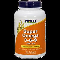 Комплекс незамінних жирних кислот Now Super Omega 3-6-9 1200 mg (180 кап) (102769) Фірмовий товар!