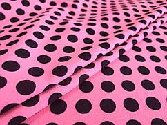 Креп горошки черные, розовый неоновый