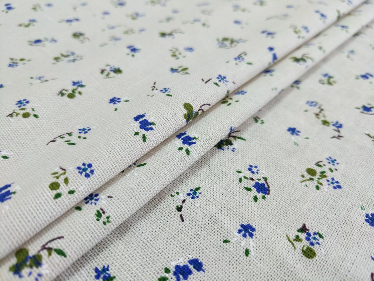 Лен прованс цветочная нежность, синий