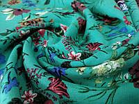 Ткань штапель рисунок цветущий сад, бирюзовый