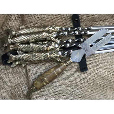 """Шампура подарочные """"Царский улов"""" с вилкой для снятия мяса, фото 2"""