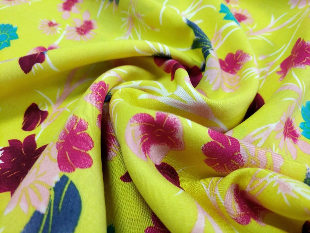 Штапель рисунок цветочная фантазия, желтый
