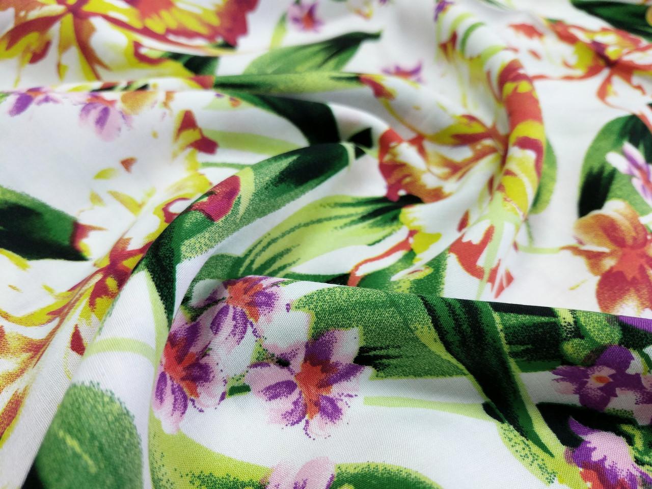 Штапель рисунок цветочный орнамент, салатовый